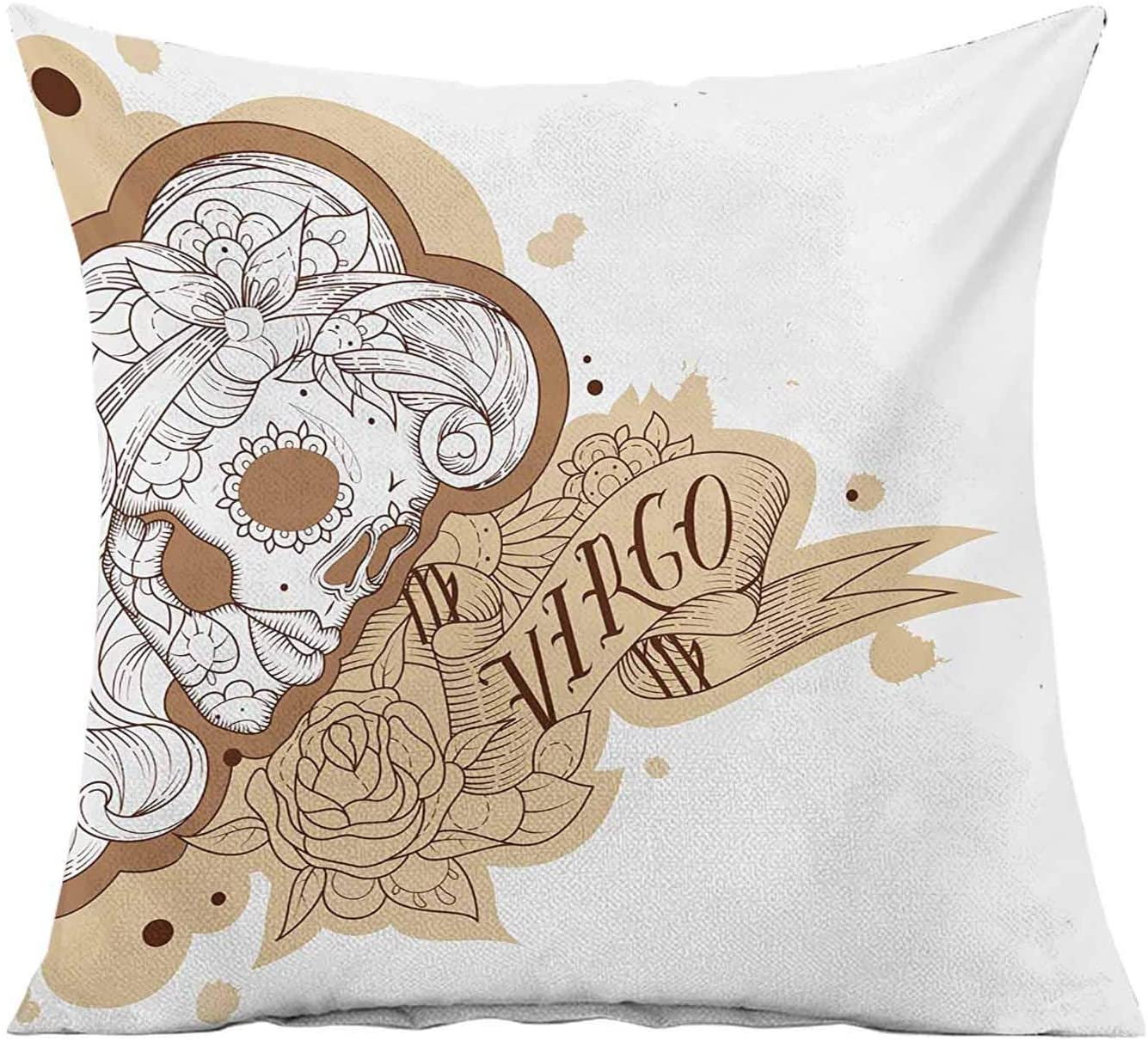 Zodiac Virgo Throw Pillow Cushion Cover,Gothic Mexican Female Portrait Sugar Skull Horoscope Tattoo Modern Home Decor Accent Square Bedroom Living Room Cushion Cases,22x22 Inches,
