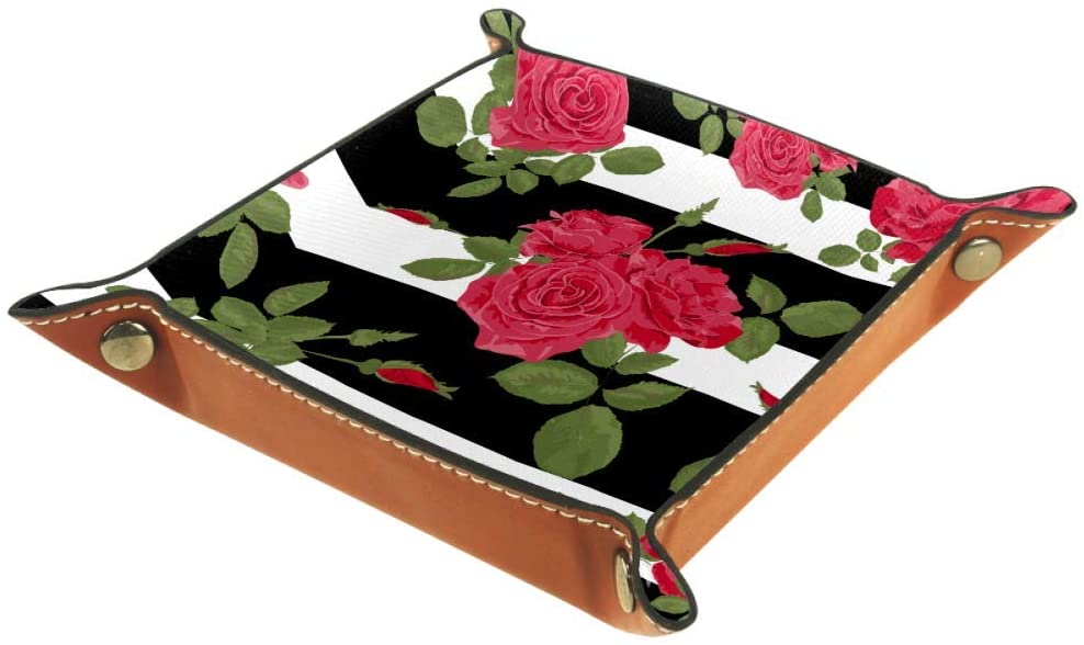 Flower Red Roses Pattern with Horizontal Stripes Storage Box Cube Basket Bins Containers for Office Home
