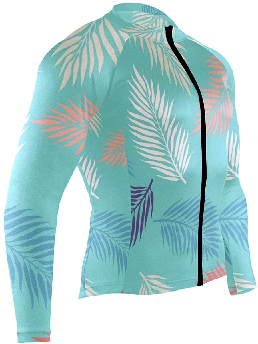 SLHFPX Summer Exotic Floral Feather Mens Cycling Jersey Top Full Sleeve Mountain Riding Clothes Outfit