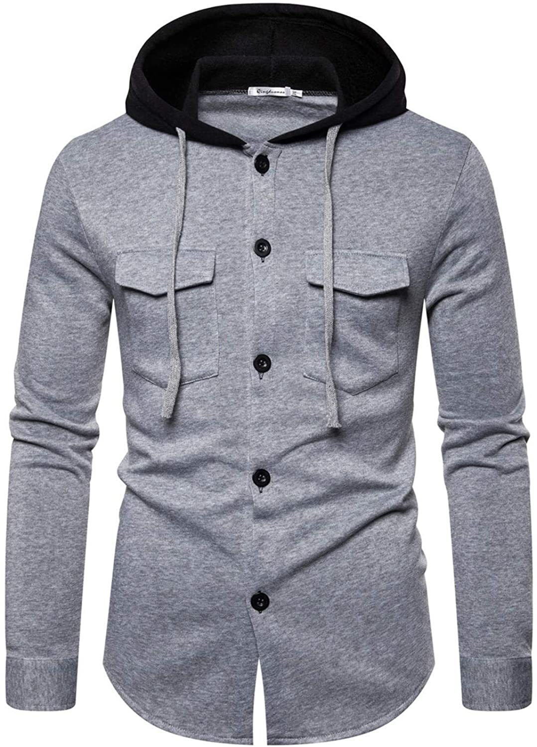 Soluo Men?s Slim Fit Hoodie Varsity Baseball Button Through Jacket Coats Outwear with Hooded