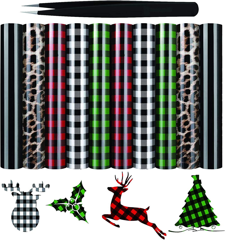 Christmas Buffalo Plaid Heat Transfer Vinyl 10 Sheets 1210'' PU HTV Heat Transfer Vinyl Iron On Vinyl for T Shirt Fabric Craft w/Weeding Tweezers (Buffalo Plaid, Leopard, Black)