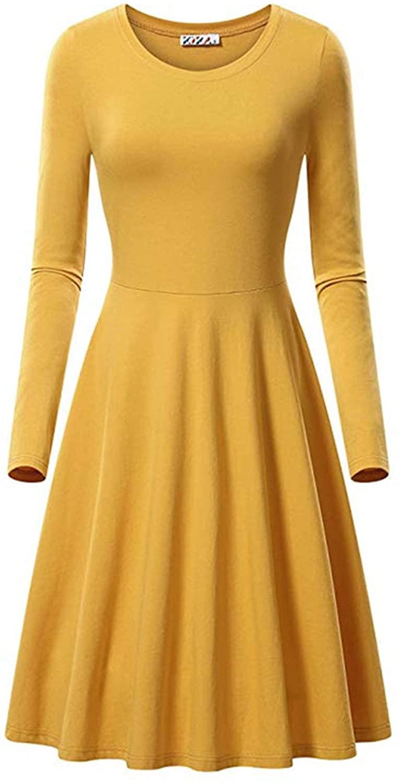 Soluo Women's Casual Swing T-Shirt Dresses Long Sleeve Loose Tank Top Plus Size Dress Tunic Blouse Shirts Dresses (Yellow,X-Large)