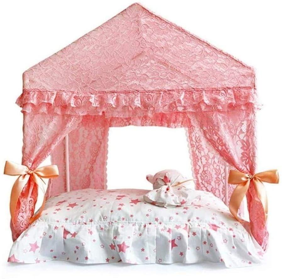 QTT Pet beds Pet House Detachable Dog Bed Four Curtain Ventilation Netting Pet Dog House Cute Tent with Little Pillow TTaN