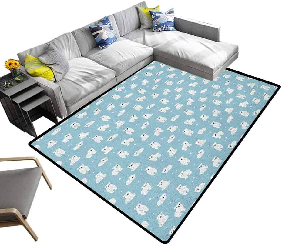 Traditional Area Rug Baby, Home Bedroom Carpet Floor Mat Cute Cartoon Polar Bears Sitting Sleeping Moving with Snow Effect Animal Pattern for Christmas and Thanksgiving Pale Blue White, 6.5 x 10 Feet