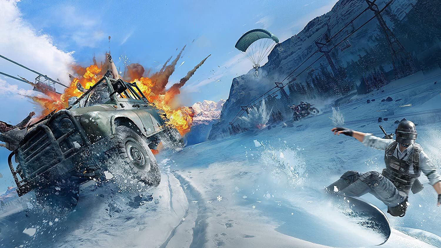 PlayerUnknowns Battlegrounds Wall Decoration,Video Game Poster Print,Weapon Artwork,Winter Wall Art,Car Poster Print Size 24x32 (61x81 cm)