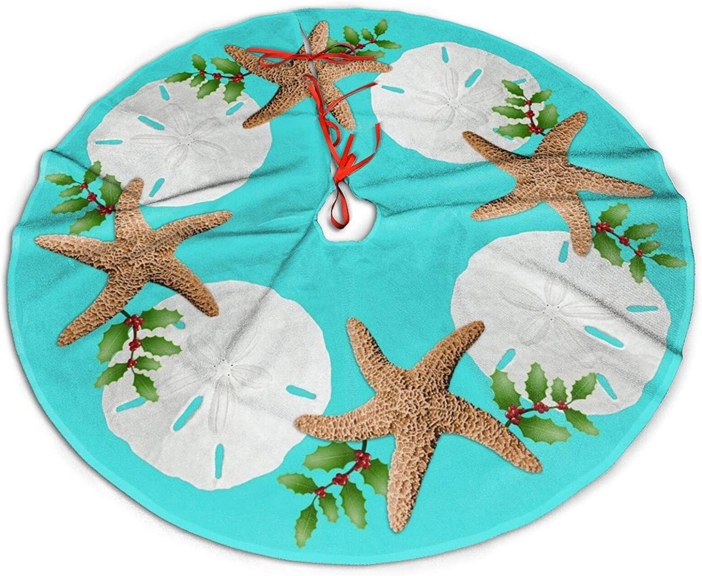 JHSLAJ Big Starfish Sand Dollars Holly Leaves Aqua Tree Skirt for Xmas New Year Holiday Decorations Indoor Or Outdoor -36