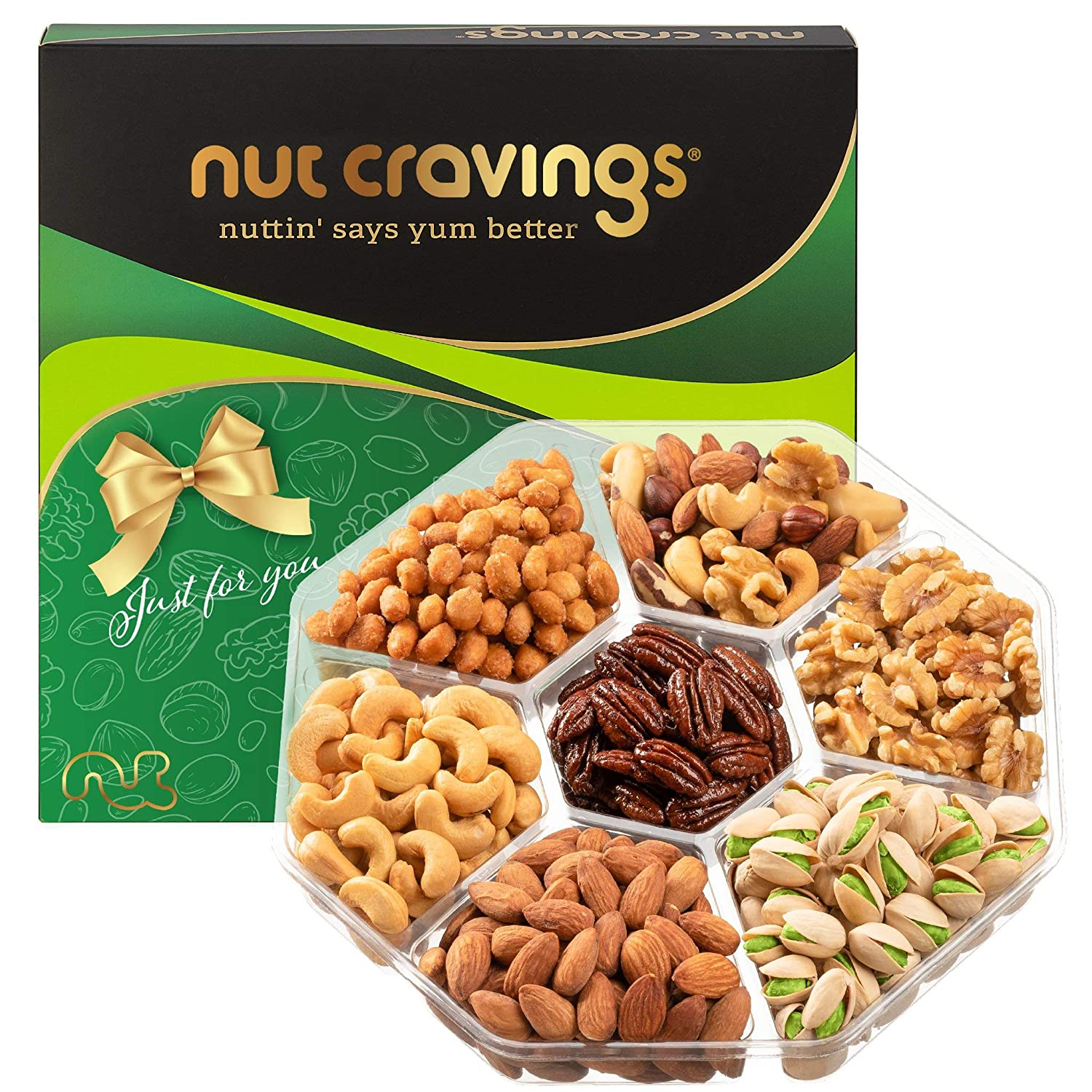 Holiday Nut Gift Basket, Green Box (Large Tray 7 Mix) - Thanksgiving, Christmas, Xmas Food Arrangement Platter, Variety Care Package, Birthday Party, Healthy Kosher Snack Tray for Women, Men, Adults