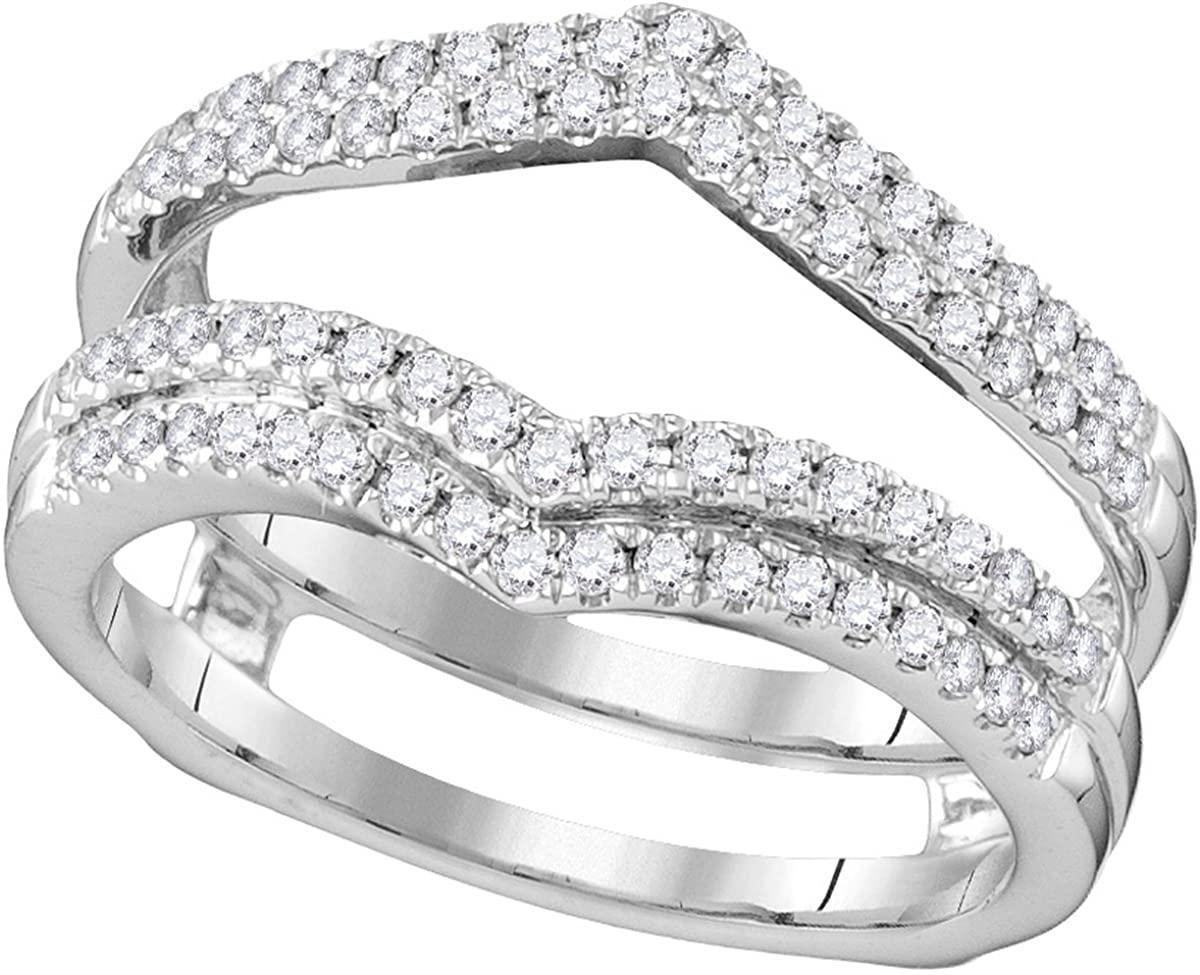14kt White Gold Womens Round Diamond Chevron Wrap Ring Guard Enhancer Wedding Band 1/2 Cttw