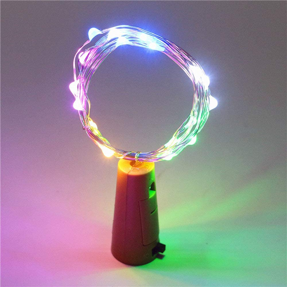 WGWGWG Christmas Decorations Led Lights Wine Bottle Cork Fairy Lights String,Battery Powered 10 Led Neon Lamp,Party Wedding Christmas Halloween Bar Decor 20Pcs Colourful Bottle Lights