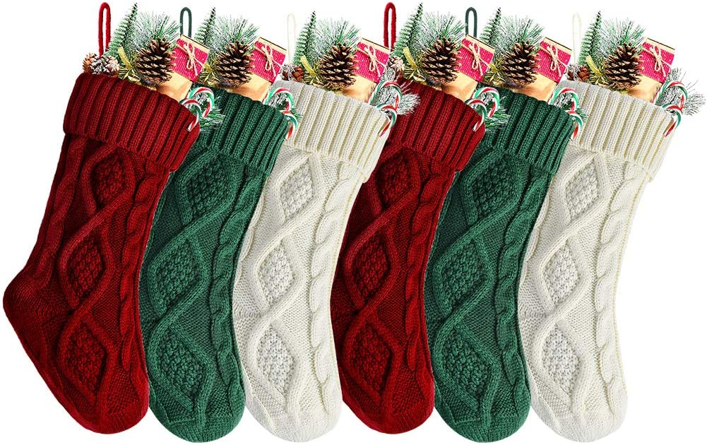 Kunyida Pack 6,14 Unique Burgundy and Ivory White Knit and Green Christmas Stockings Style2
