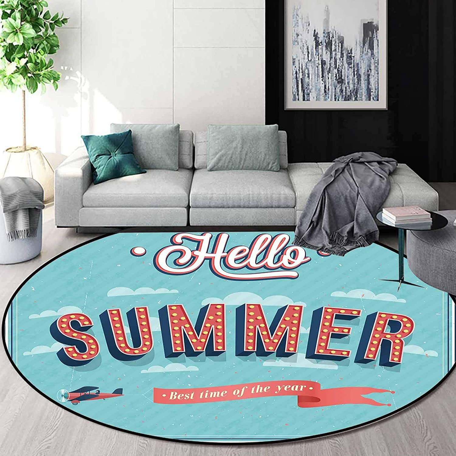 Hello Round Bedroom Area Rugs Carpet 4.6 ft,Vintage Style Summer Inspired Quote Print on Blue Background with Aircraft and Clouds,Multicolor