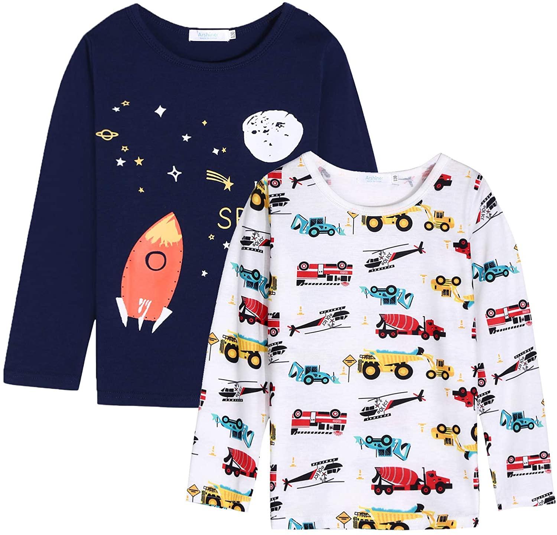 Arshiner Boys Clothes 2-Pack Long Sleeve Shirts Crewneck Graphic T-Shirts Top Tee