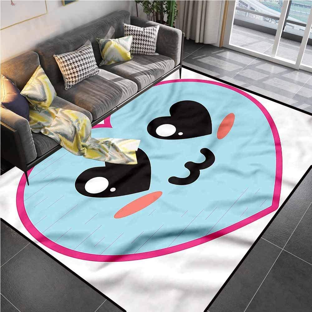 Area Rugs Print Large Carpet Kawaii,Valentines Day Cartoon Love Carpets for Kids Yoga Living Room Home Decor Rugs 6'6