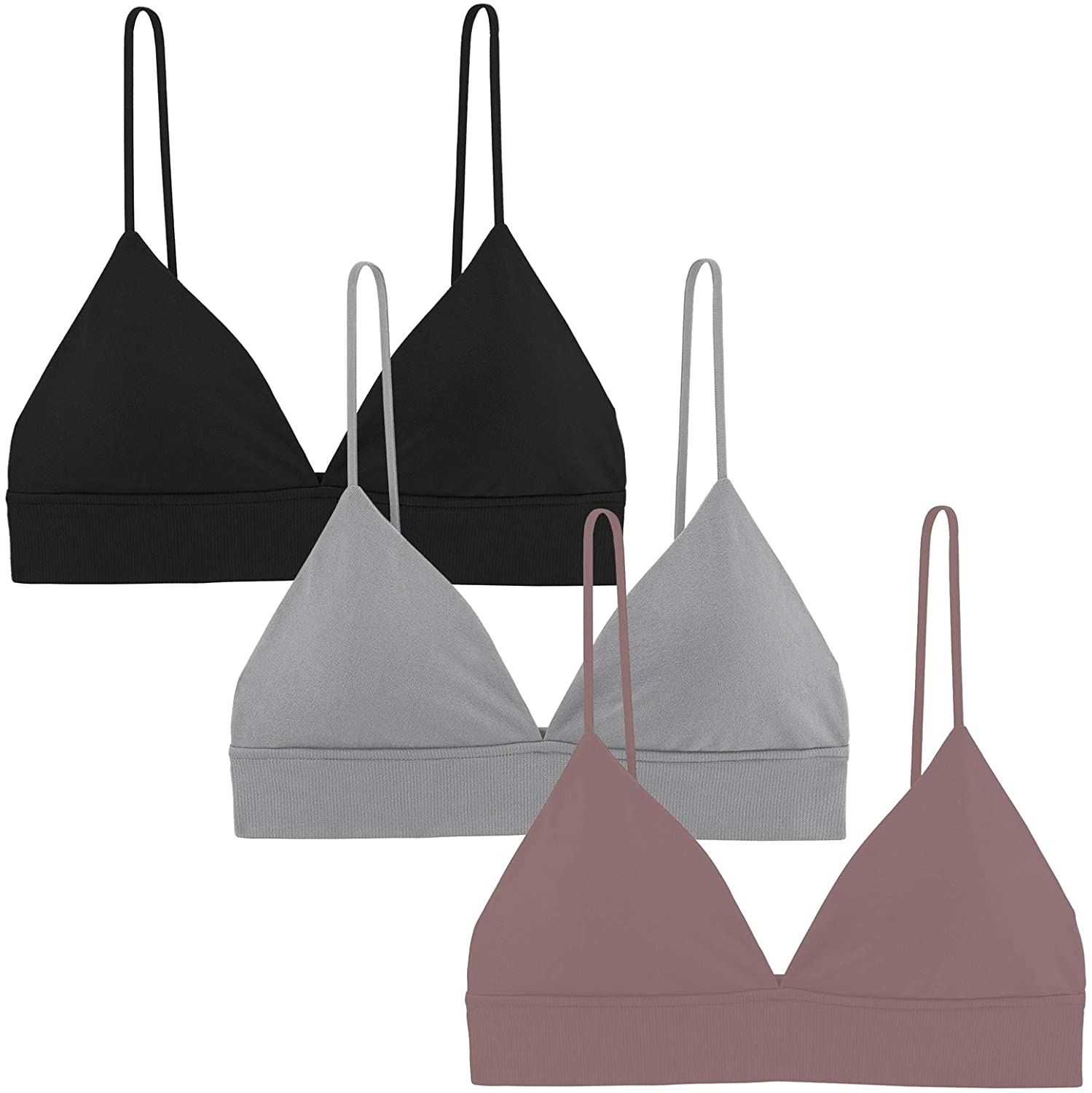 PP PLUIE POURPRE 3 Pieces Bralettes for Women Triangle Bralette Removable Pads Wire Free Everyday Bra with Elastic Straps