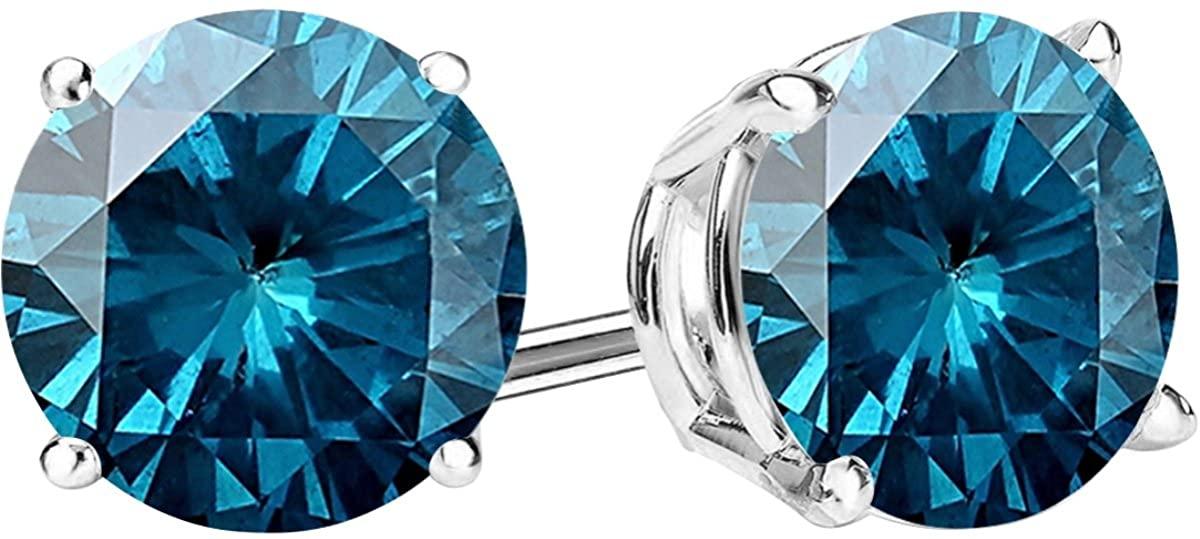 1/2-10 Carat Total Weight Blue Diamond Stud Earrings 4 Prong Push Back