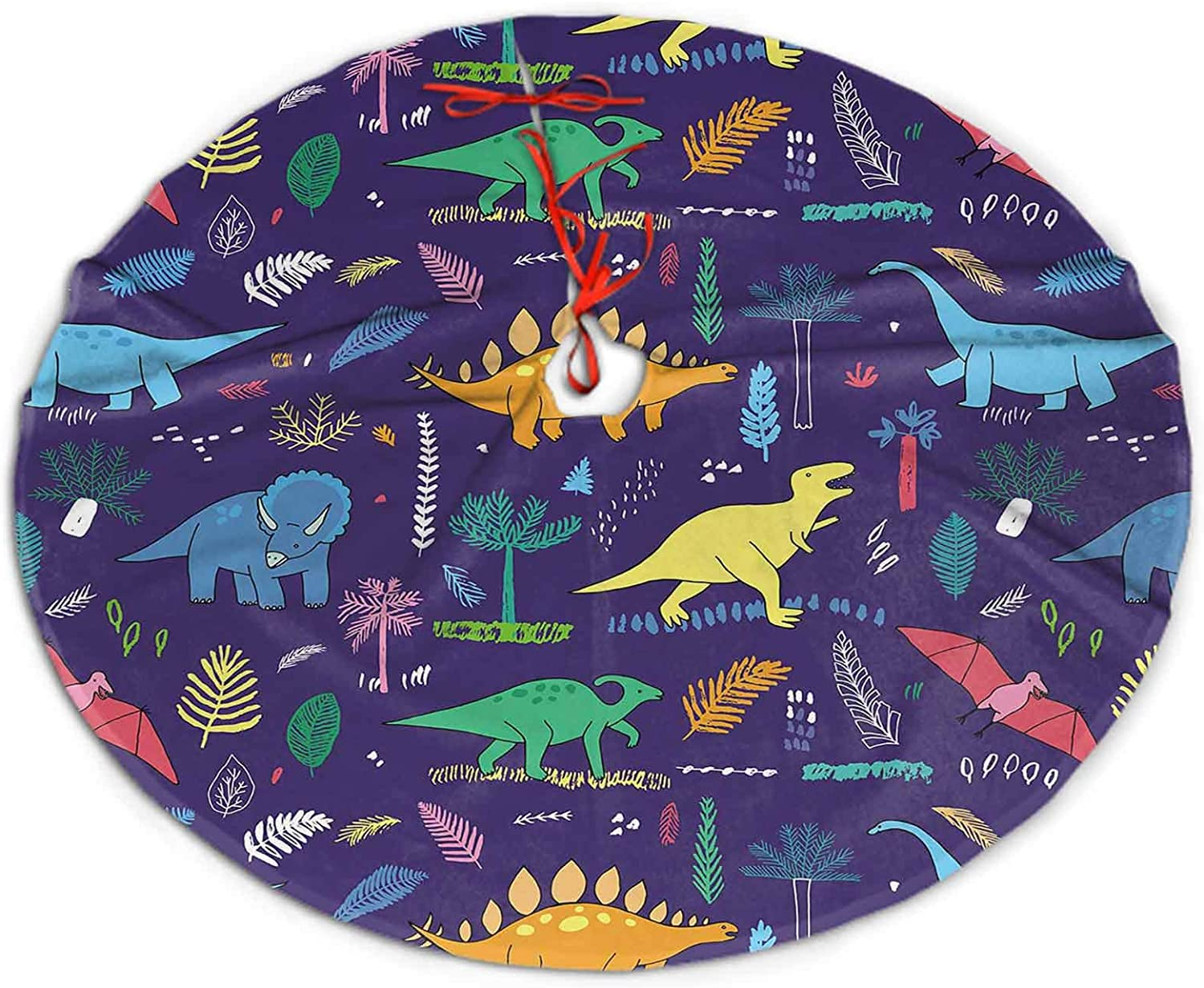 Christmas Tree Skirt Funny Dinosaurs with Palm Leaves Pattern Christmas Decorations Indoor Outdoor 30