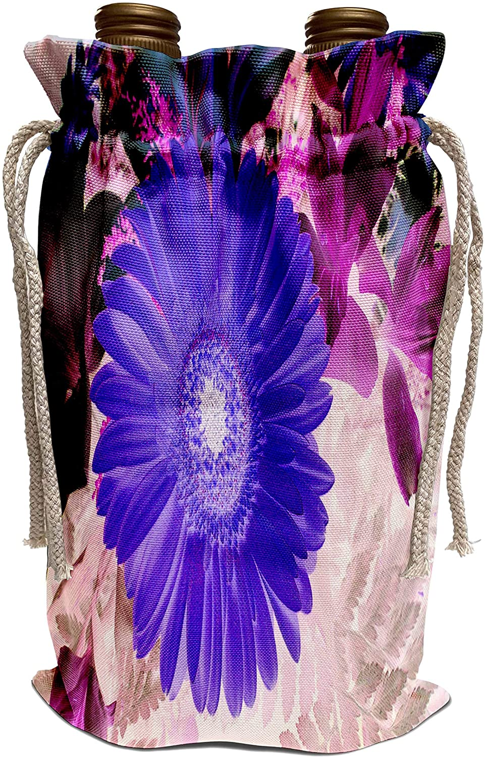 3dRose Yves Creations Florals and Bouquets - Pretty Blue Solitaire Daisy - Wine Bag (wbg_9352_1)
