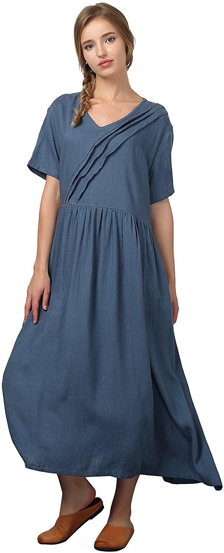 OverSize Women's Linen Cotton Soft Pleated Skirt Large Dress Plus Size Clothing b29