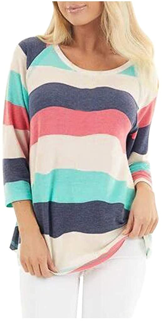 Kansopa Women Fashion Casual Colorful Stripes Long Sleeve Round Neck Tops Unique Pattern Design Shirt