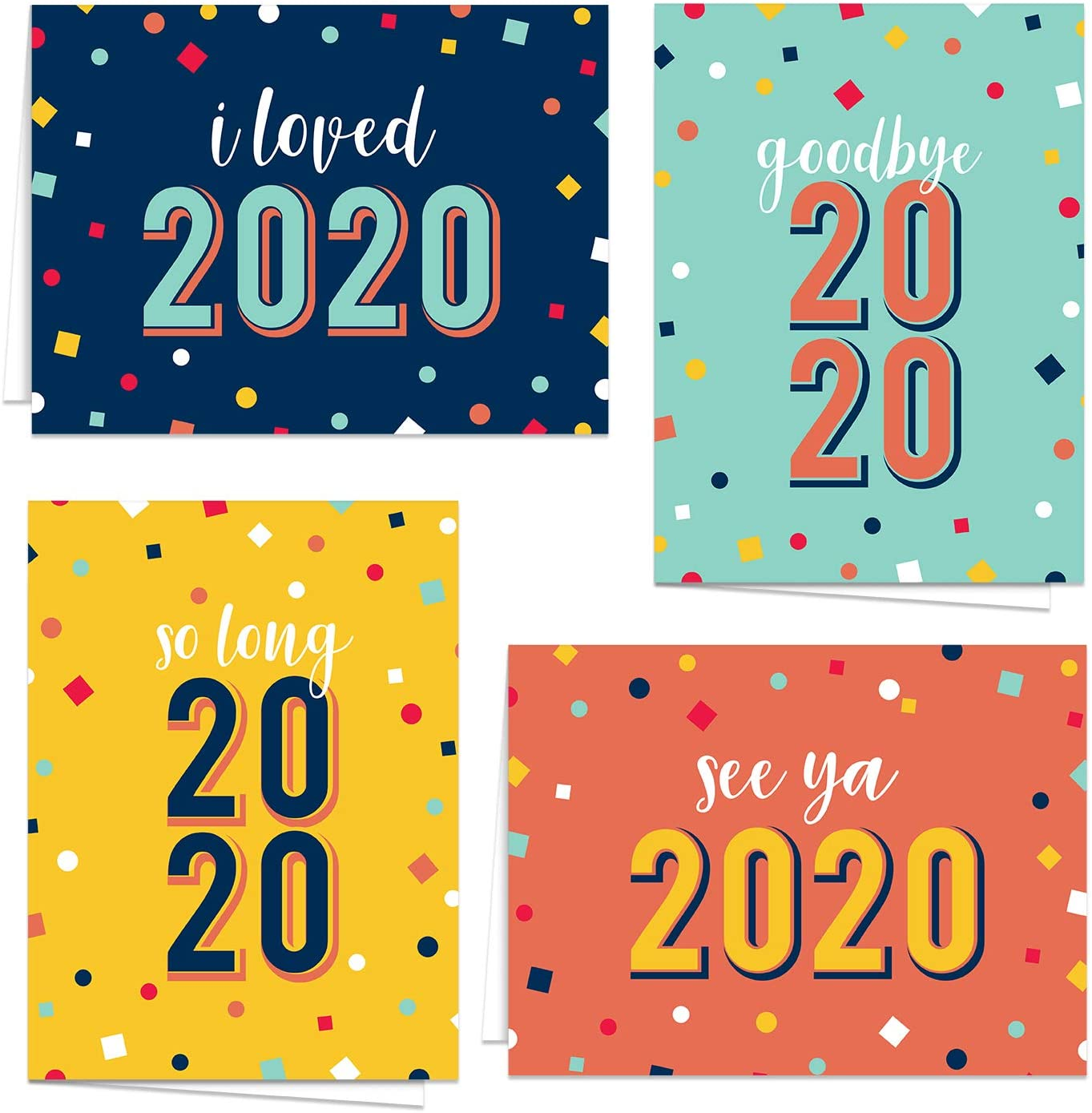 Funny Happy New Year Cards/Sarcastic New Year Greetings/Colorful Goodbye 2020 Cards