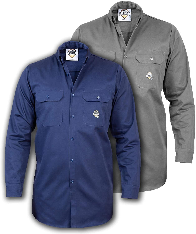 Ur Shield FR Shirt for Men - Fire Resistant Shirt - Bundle of 2 2XL FR Shirts - Gray & Navy Fire Resistant Shirt