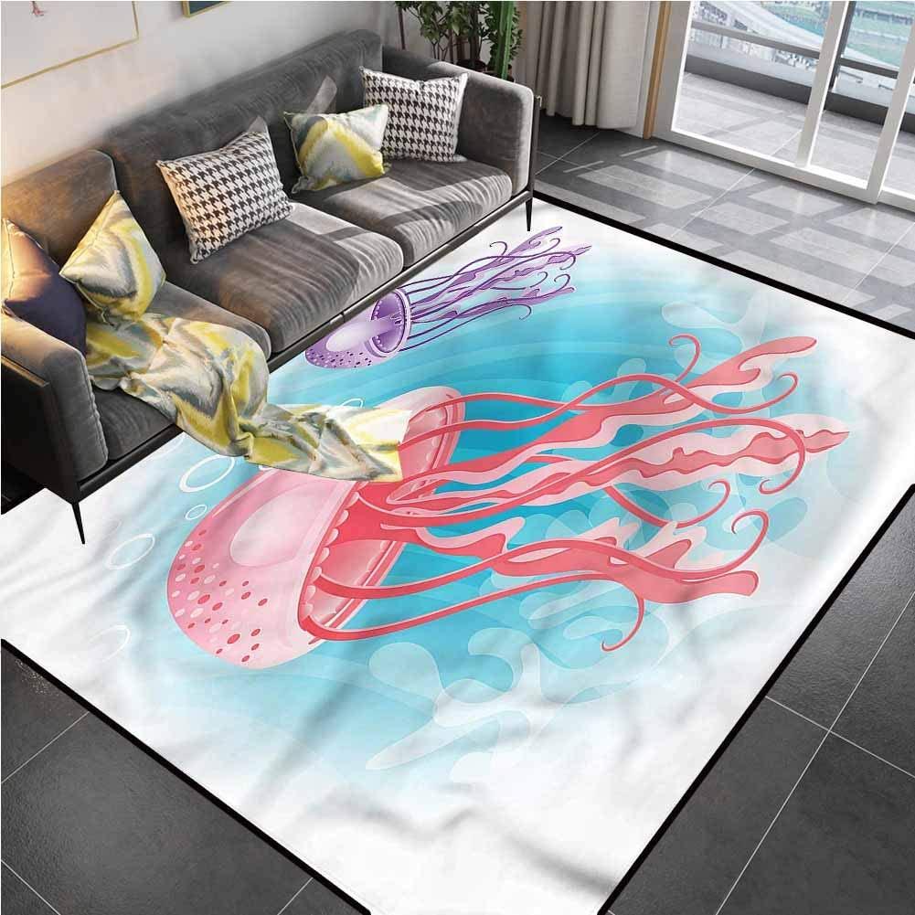 Area Rug Rugs Print Large Floor Mat Jellyfish,Aquatic Tropic Wildlife Desk Floor mat for Carpet for Living Dining Dorm Playing Room Bedroom 6'6