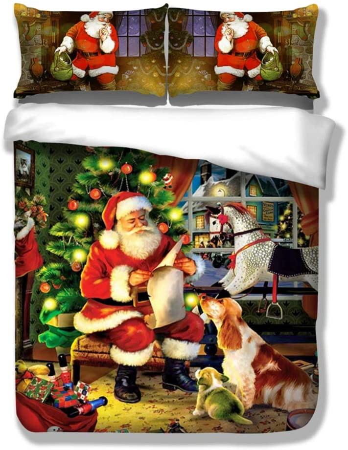 Bsmilly Christmas Bedding Set Santa Claus Duvet Cover Set Santa Dog Gifts Presents Pattern Bedding Cover Sets Twin Size with 2 Pillow Shams, Twin