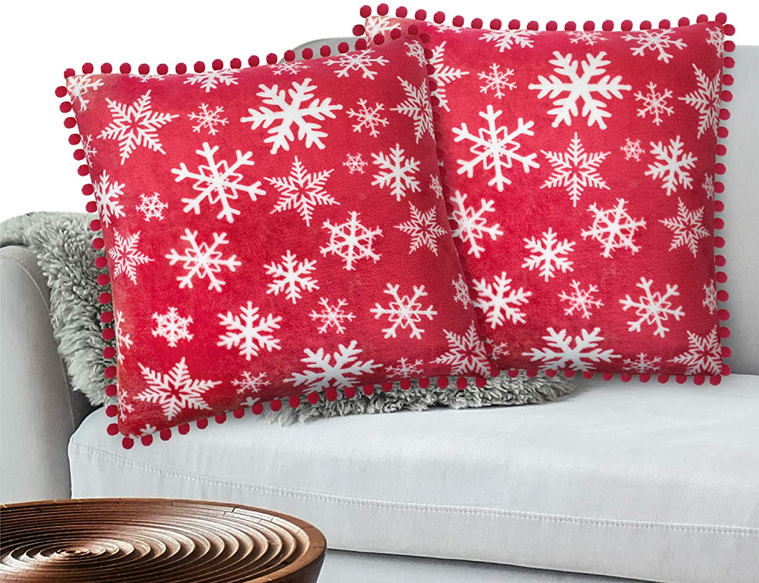 PAVILIA Holiday Fleece Throw Pillow Cover with Pom Pom Fringe, Set of 2 | Christmas Decorative Cushion Covers for Sofa Couch Bed Living Room 20 x 20 Inches, Snowflake Red