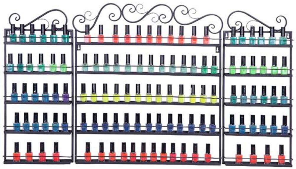 FHSGG 3 in 1 Nail Polish Organizer, Wall Mounted Nail Polish Holder Oil Essential Nail Polish Rack, 5 Tiers Shelf Display Holders Hold 100 Bottles Nail Polish or Essential Oils