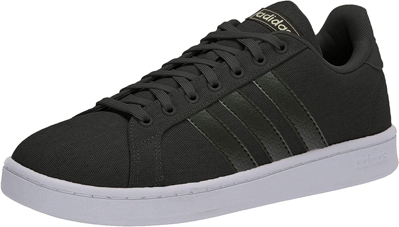 adidas Women's Grand Court Sneaker, core Black/core Black/Gold Met, 9 M US