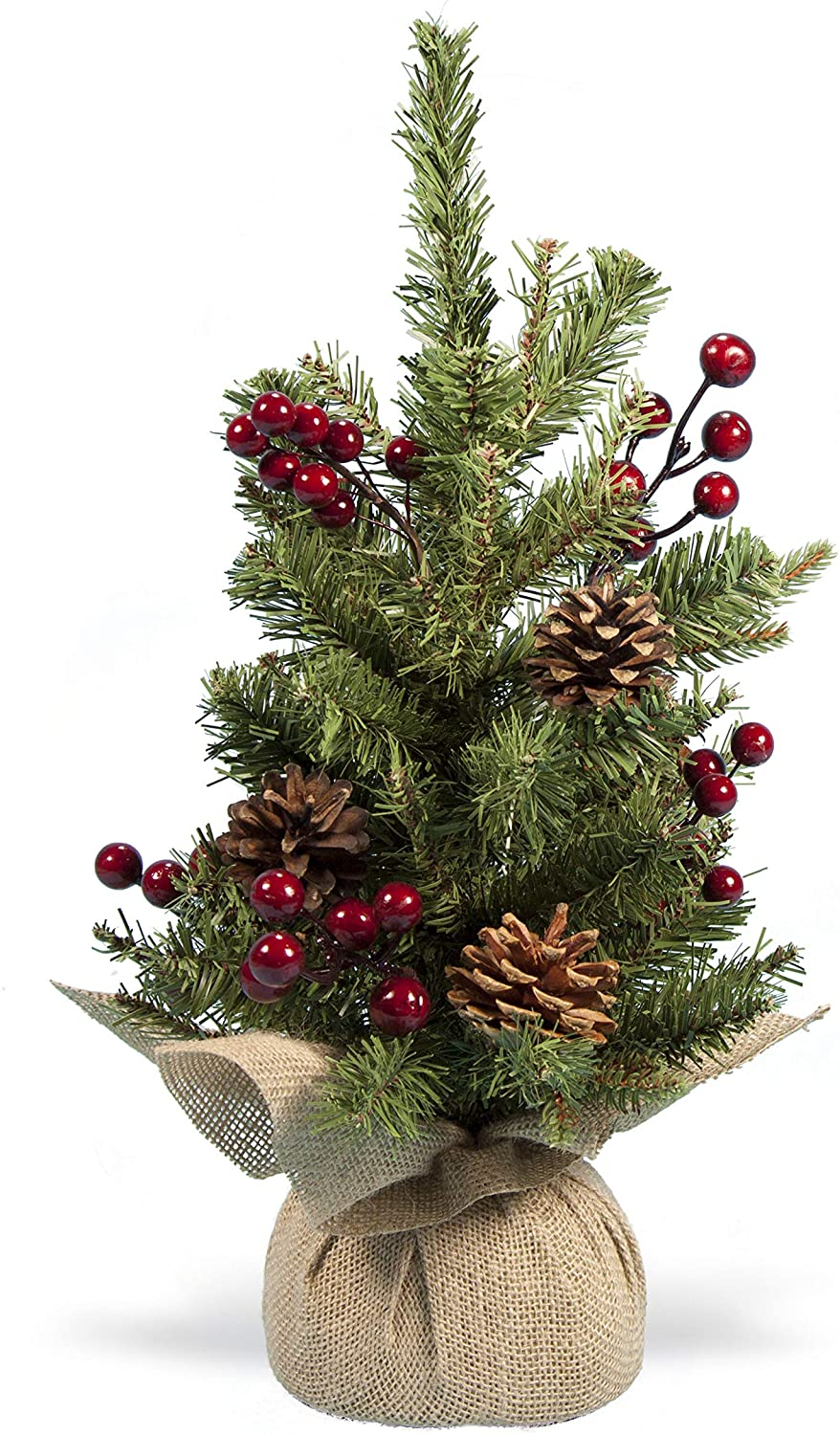 Holiday Essentials Tabletop Christmas Tree with Pine Cones and Red Berries - 17