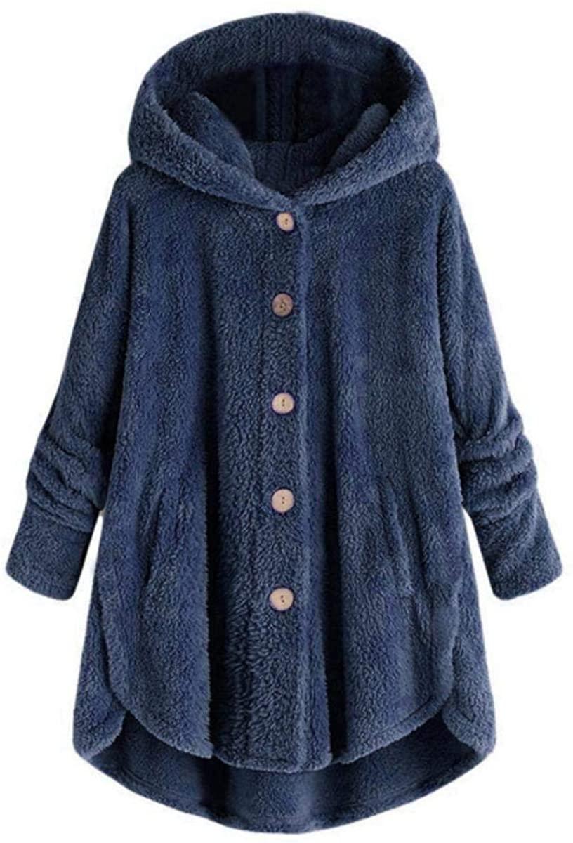Button Plush Wool Winter Jacket Women Parkas Hooded Loose Fashion Warm Coat Women Clothes Outdoor Overcoat Manteau Femme Hiver,Navy Blue,L