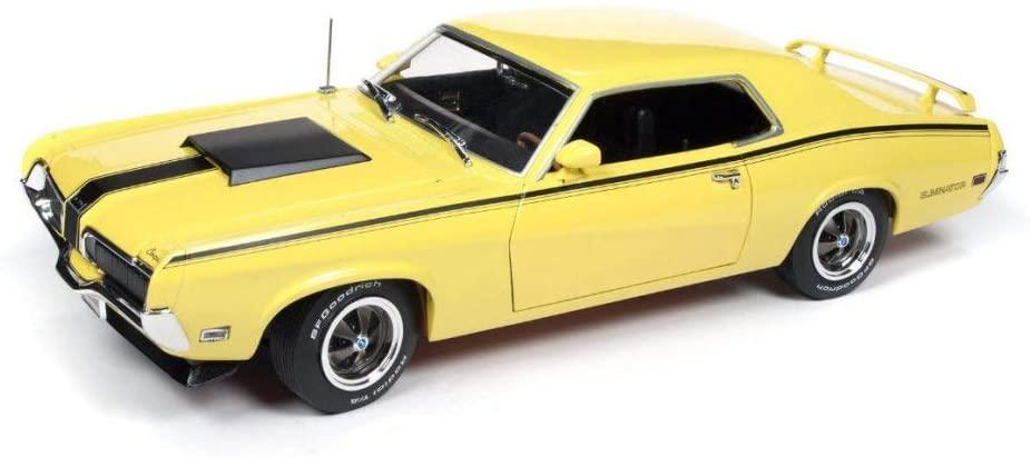 Auto World 1970 Mercury Cougar Eliminator Hard Top, Yellow AMM1155 - 1/18 Scale Diecast Model Toy Car