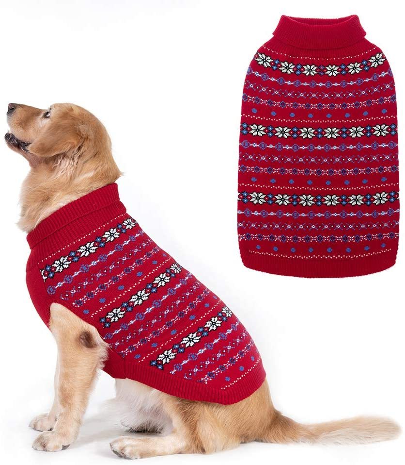 BINGPET Classic Snowflake Dog Sweater - Soft Thickening Dog Cat Warm Coat Apparel, Winter Knitwear Pet Clothes for Cold Weather