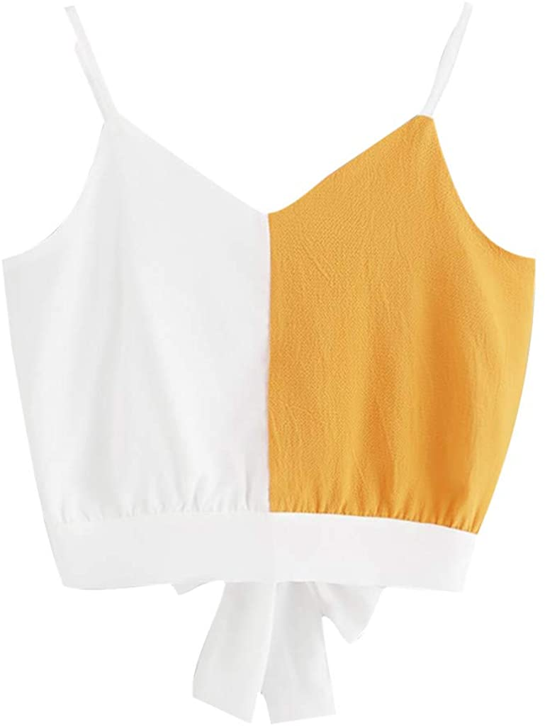 LISTHA Crop Tops Camis Women Bow Tie Back V Neck Button Splice Blouse Summer Tee