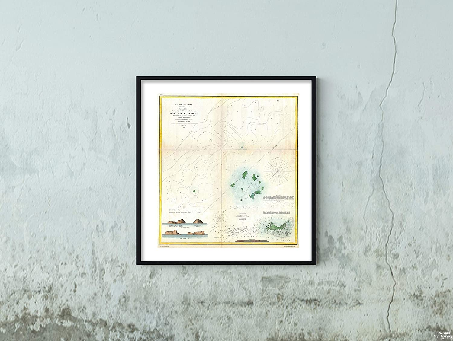 Map|1853 U.S. Coast Survey or Chart of Sow and Pigs Reef Off Marthas Vineyard, Massachussetts -|Vintage Fine Art Reproduction|Size: 22x24|Ready to Frame