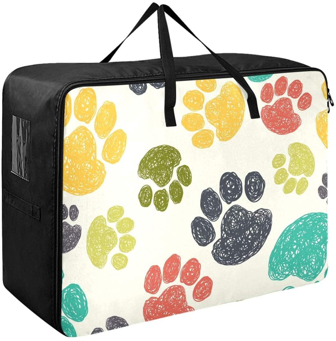 DOMIKING Under Bed Clothes Storage Bag - Doodle Paw Blanket Storage Large Storage Containers with Zipper Closet Organization 27.6x19.7x11inch