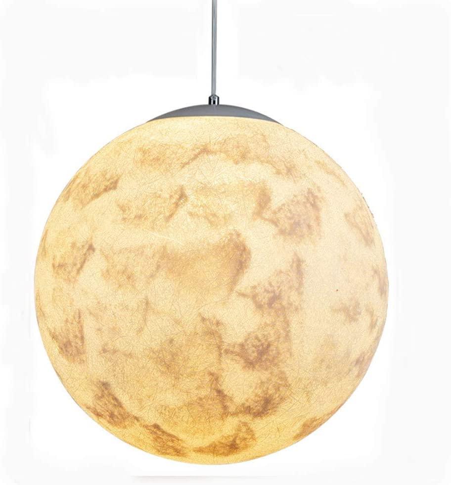 Modern Moon Hanging Lights Bedroom Height Adjustable Pendant Light 3D Printing Spherical Creativity Light Bedside Lamp Kitchen Restaurant Living Room Loft E27,Without Max 40W