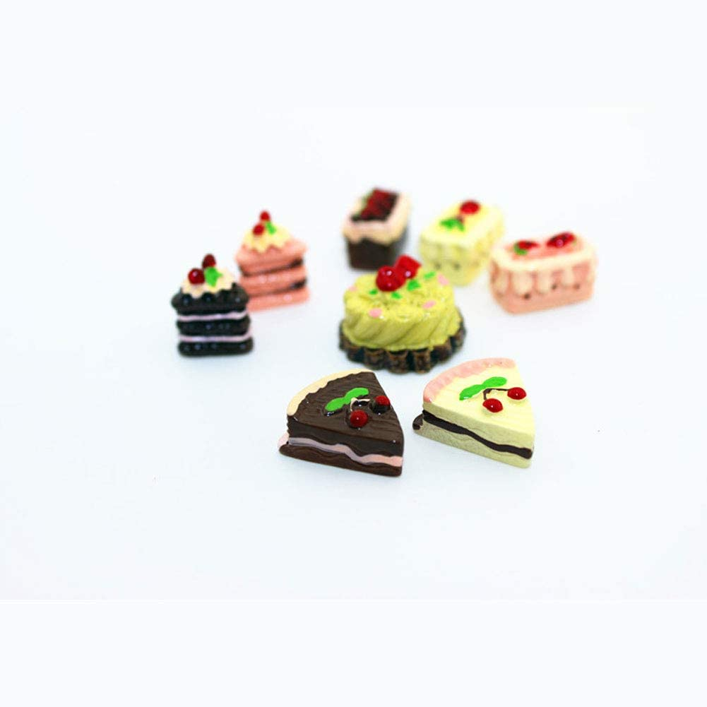 8pcs Dolls House Accessories,Mini Cake Dollhouse Decoration Play Food Set Kitchen Food Cake Donuts for Dollhouse Kitchen Decoration