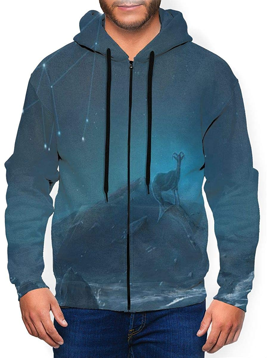lightly Long Sleeve Hooded Sweatshirt Capricorn Constellation Painting Amazing Hoodies for Men