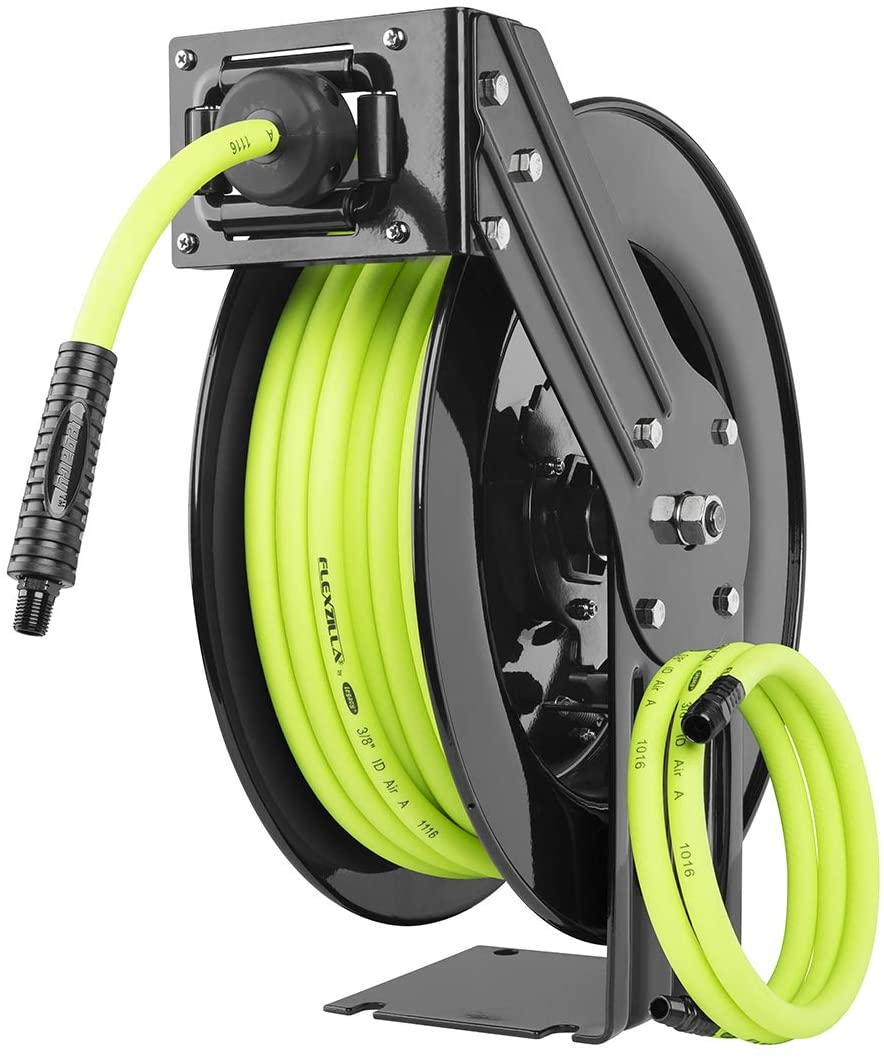 Flexzilla Open Face Retractable Air Hose Reel, 3/8 in. x 50 ft., Heavy Duty, Lightweight, Hybrid, ZillaGreen - L8611FZ