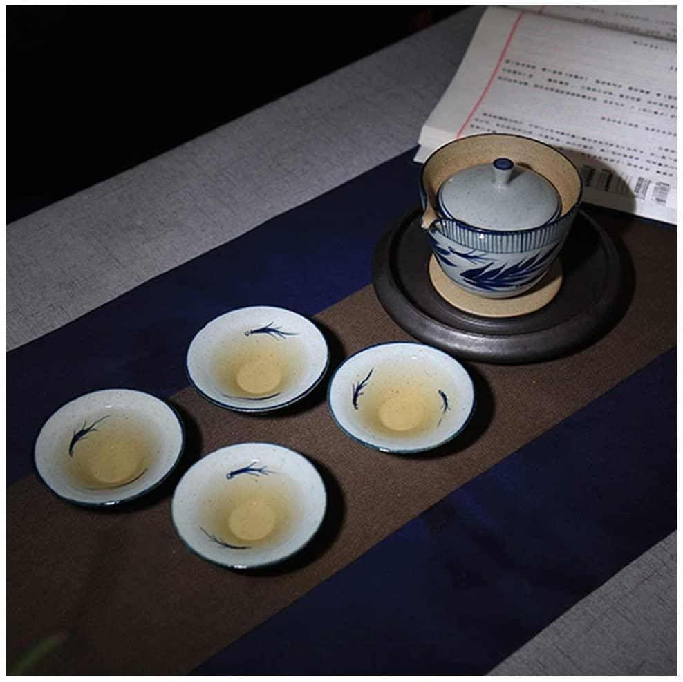 TYOP Tea Set Box, Hand-painted Blue and White Pottery Clay Tea Set, Creative Ceramic Handmade Gaiwan Kung Fu Tea Set