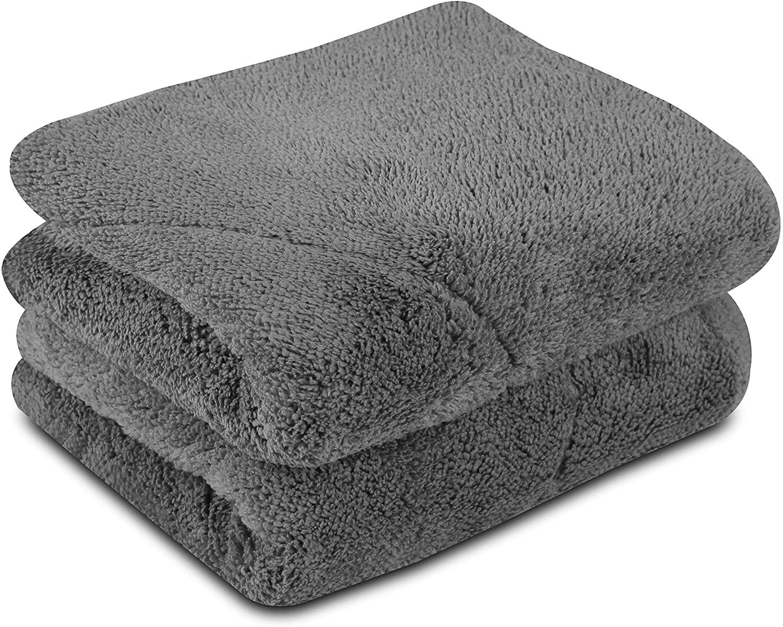 UTowels Ultra Plush Thick Microfiber Auto Detailing Towel - 15 x 24 - 560 GSM (2pcs, Gray)
