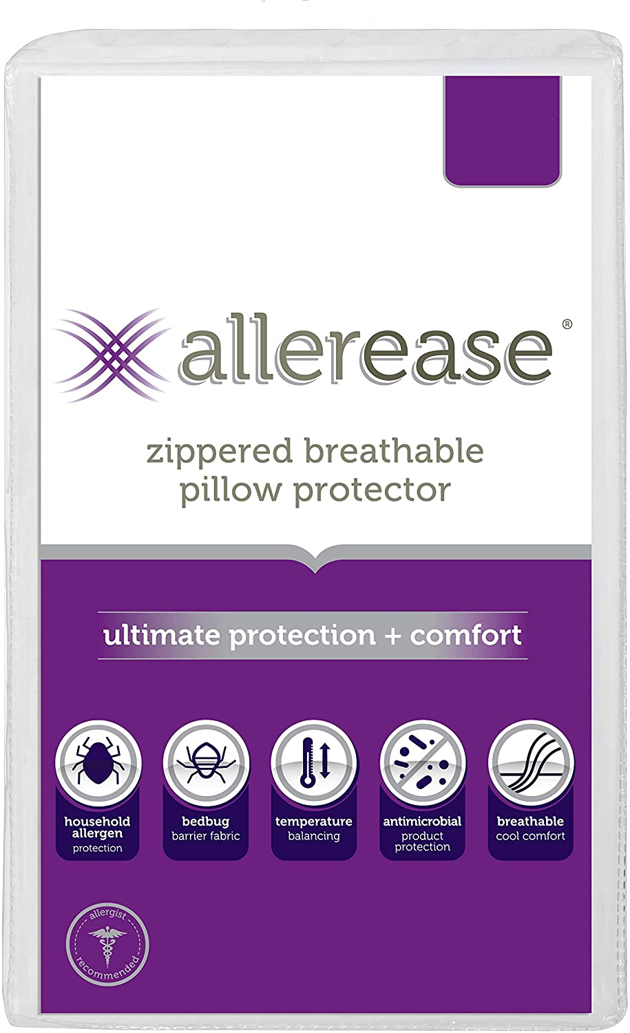 AllerEase Ultimate Protection & Comfort Temperature Balancing Pillow Protector – Zippered, Antimicrobial, Allergist Recommended Prevent Collection of Dust Mites and Allergens, Standard/Queen, 1 Pack
