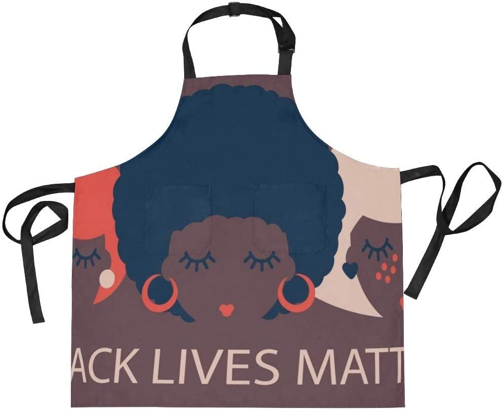 Black Women Adjustable Bib Apron Avoid Oil Splash with 2 Pockets Cooking Kitchen Aprons for Women Men Chef Cooker(912i)