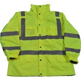 Petra Roc 3-In-1 Waterproof Parka Jacket, ANSI Class 3, 300D Oxford Shell/Fleece Lining, Lime, 3XL (LPJ3IN1-C3-3X)
