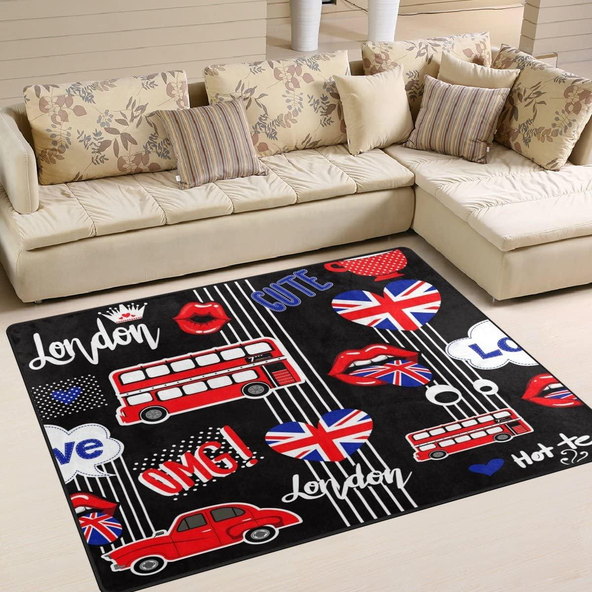 ALAZA London Stylish Union Jack Lips Bus Area Rug Rugs for Living Room Bedroom 7' x 5'