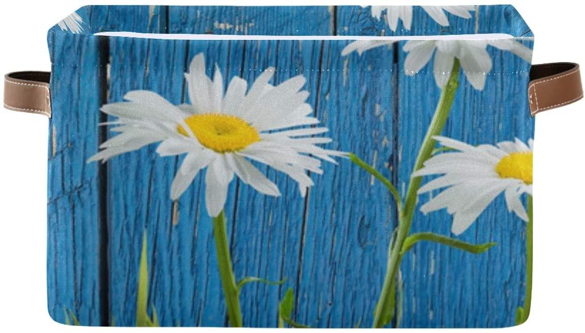 Large Foldable Storage Basket, Grass Flowers Wooden Fence Fabric Storage Bin Organizer Bag with Handles 15 x 11 x 9.5 inch