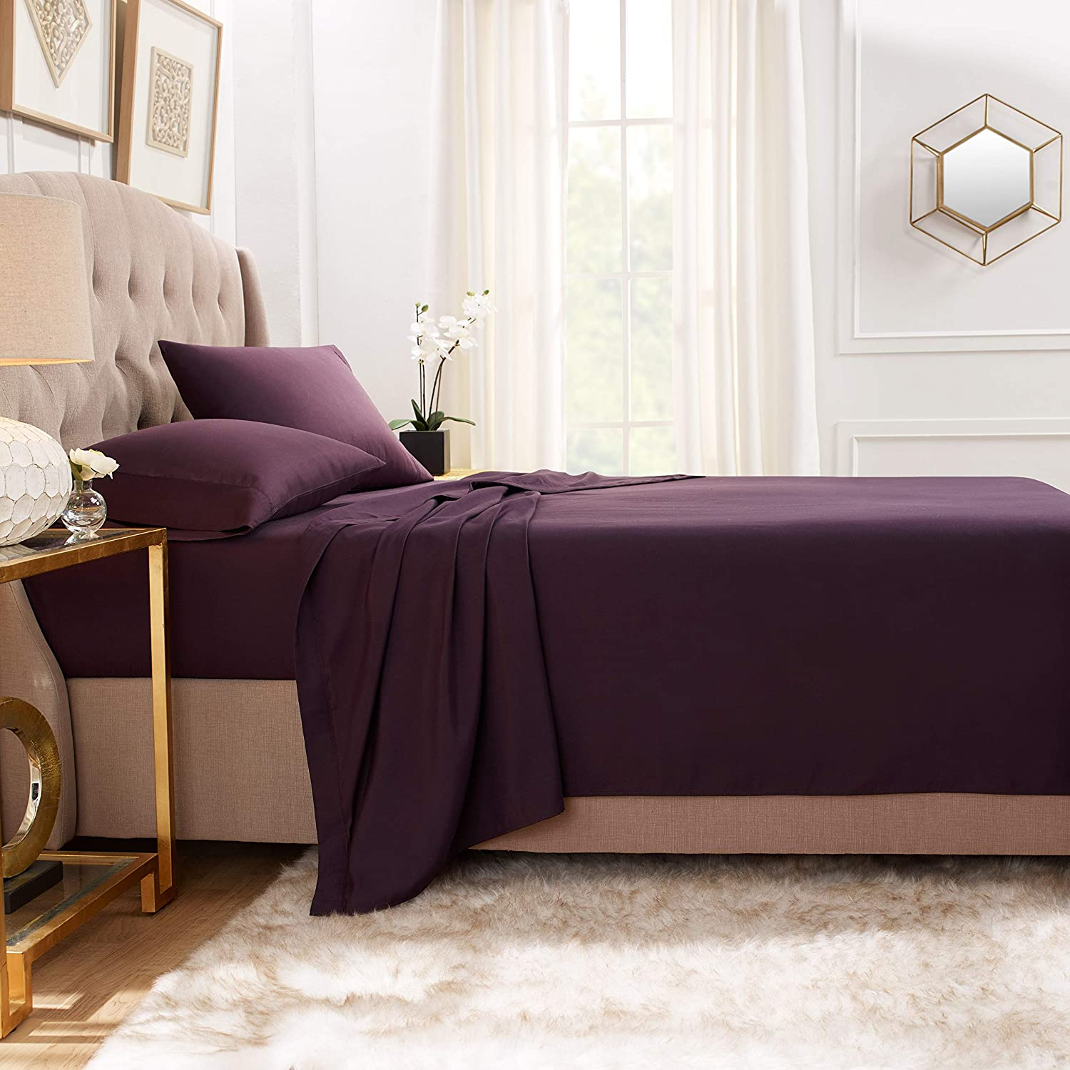 """Empyrean Bedding Premium Flat Sheet – """"110 GSM"""" Double Brushed Microfiber Extra Thick and Comfortable Flat Sheets, Luxurious & Soft Hotel Single Top Bed Sheet Hypoallergenic, Twin, Purple Eggplant"""