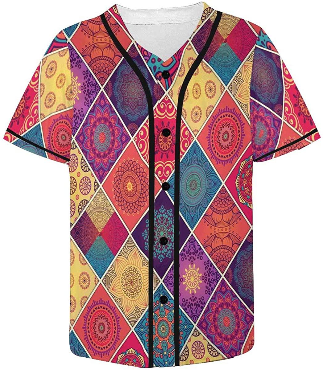 INTERESTPRINT Mens Catrina Woman with Make Up Baseball Jersey Button Down Shirts